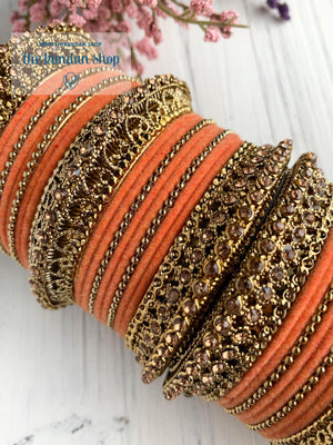 Peach Velvet & Bronze Bangle Set Bangles THE KUNDAN SHOP