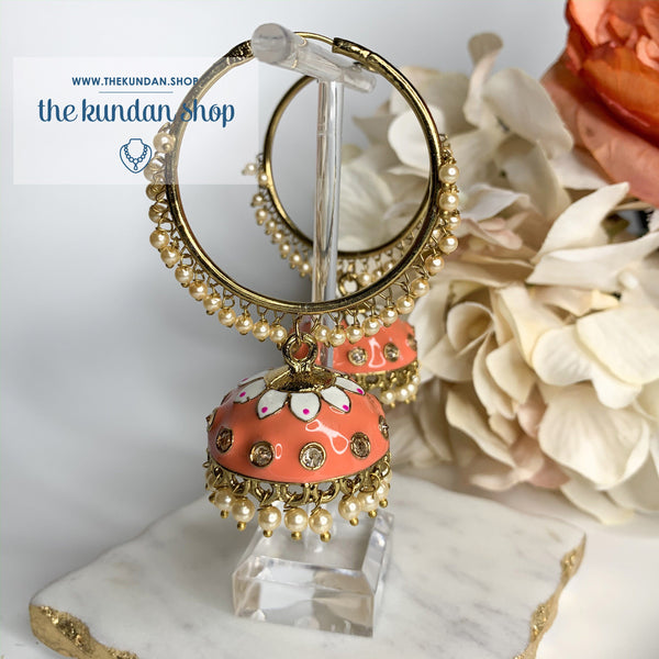 White Flower Baalis - Peach/Coral, Baalis - THE KUNDAN SHOP
