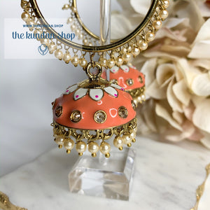 White Flower Baalis - Peach/Coral, Earrings - THE KUNDAN SHOP