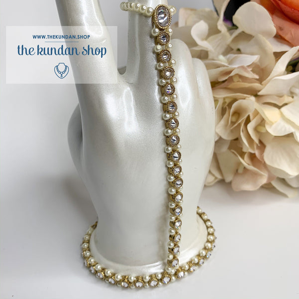 Pearl Embedded Handpiece Ring THE KUNDAN SHOP