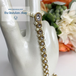 Pearl Embedded Handpiece, Ring - THE KUNDAN SHOP