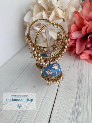Pearl Clusters & Flowers Earrings THE KUNDAN SHOP Blue