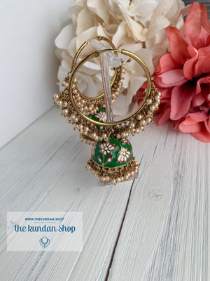 Pearl Clusters & Flowers Earrings THE KUNDAN SHOP Dark Green