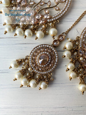 Smooth Move - Pearl, Earrings + Tikka - THE KUNDAN SHOP
