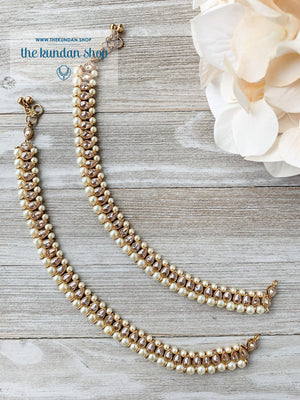 Payals in Polki & Pearl Anklets THE KUNDAN SHOP