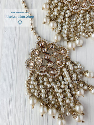 Gleam Polki in Pearl Earrings + Tikka THE KUNDAN SHOP