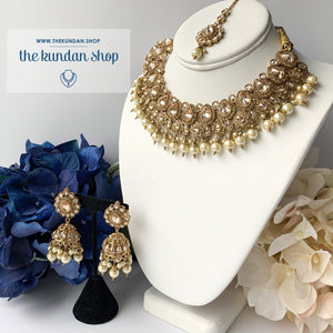 Raindrop Polki Choker - Pearl, Necklace Sets - THE KUNDAN SHOP