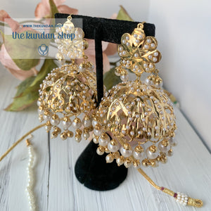 A Beauty In Jumki Jadau Set - Pearl, Necklace Sets - THE KUNDAN SHOP