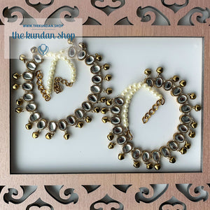 Pearl String Ghungaroo Anklet, Anklets - THE KUNDAN SHOP
