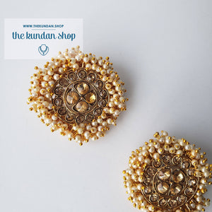 Rhinestones & Pearl Studs, Earrings - THE KUNDAN SHOP