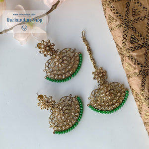Parisian Tikka - Green, Earring + Tikka - THE KUNDAN SHOP