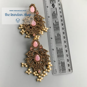 Gothic Stones - Pink, Necklace Sets - THE KUNDAN SHOP