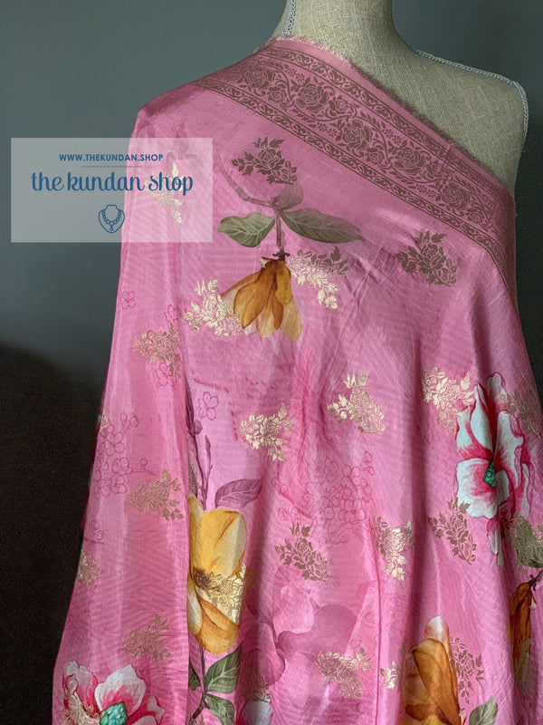 Banarsi Floral - Pink, Dupatta - THE KUNDAN SHOP