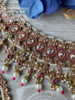Dignify Set in Pink Necklace Sets THE KUNDAN SHOP