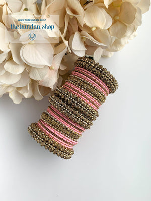 Dotted Bangle Set in Pearl & Pink Bangles THE KUNDAN SHOP