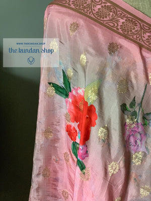 Banarsi Floral - Pink & Grey, Dupatta - THE KUNDAN SHOP