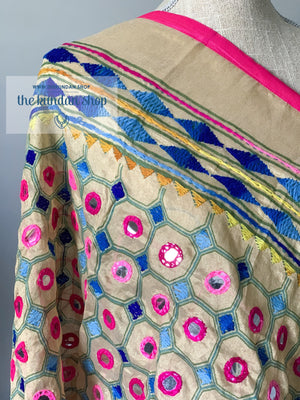 Mirrors in Pink, Dupatta - THE KUNDAN SHOP