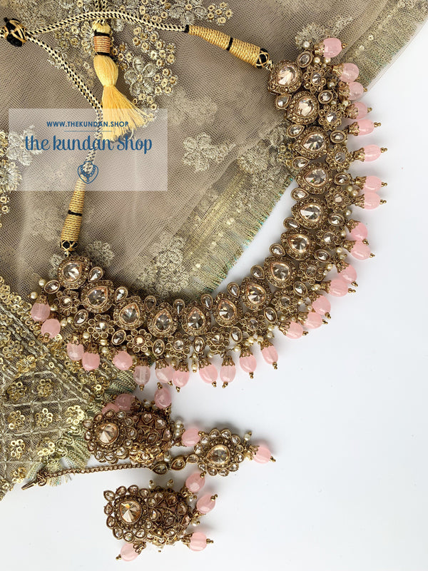 Raindrop Polki Choker - Pink, Necklace Sets - THE KUNDAN SHOP