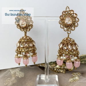 Raindrop Polki Choker - Pink Necklace Sets THE KUNDAN SHOP