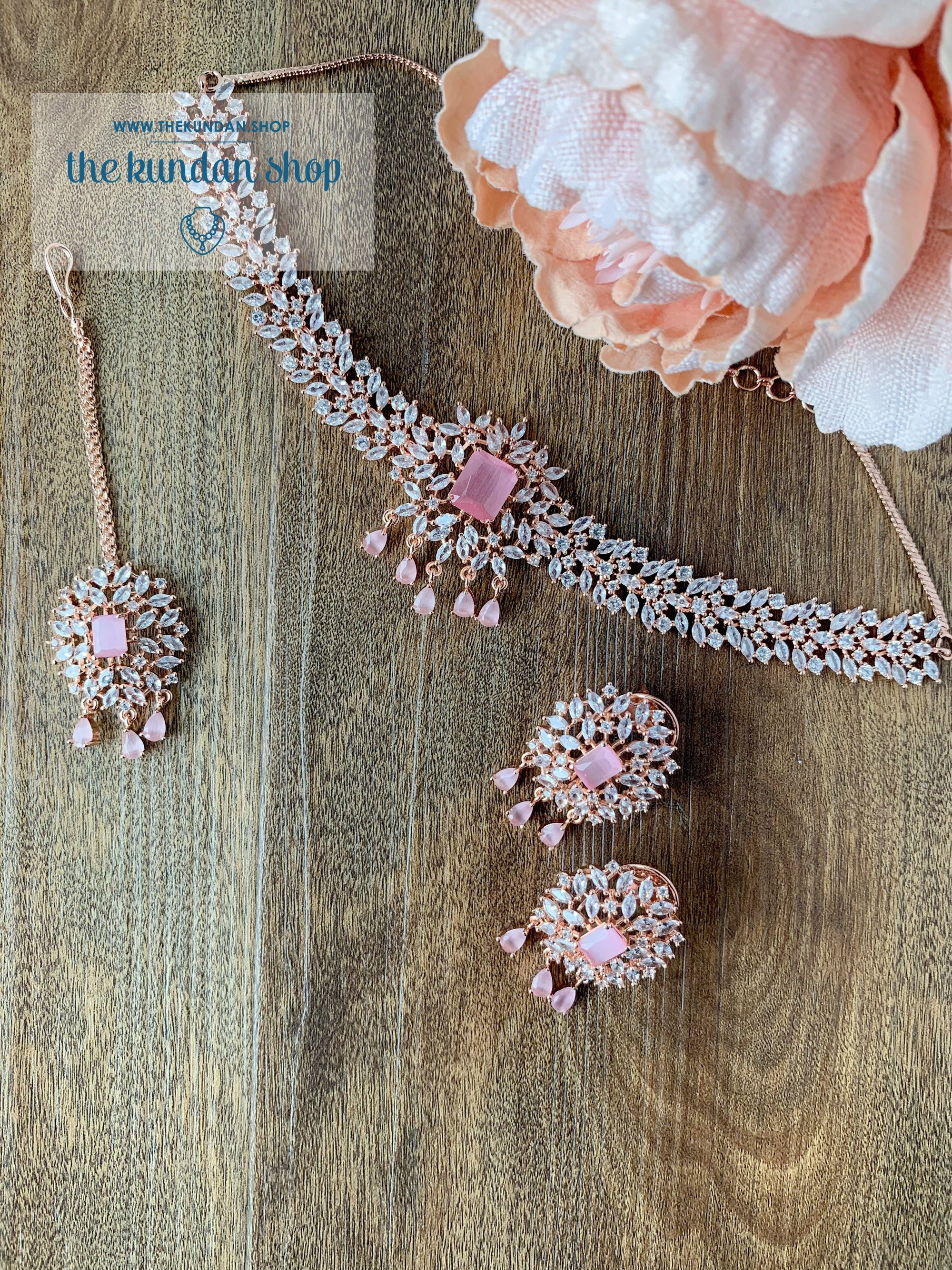 Captivate in Rose Gold Pink Necklace Sets THE KUNDAN SHOP