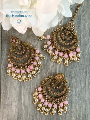 Candid in Light Pink Earrings + Tikka THE KUNDAN SHOP