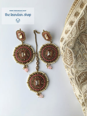 Sister of the Bride in Pink, Earrings + Tikka - THE KUNDAN SHOP