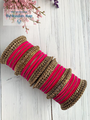 Pink Velvet & Bronze Bangle Set Bangles THE KUNDAN SHOP