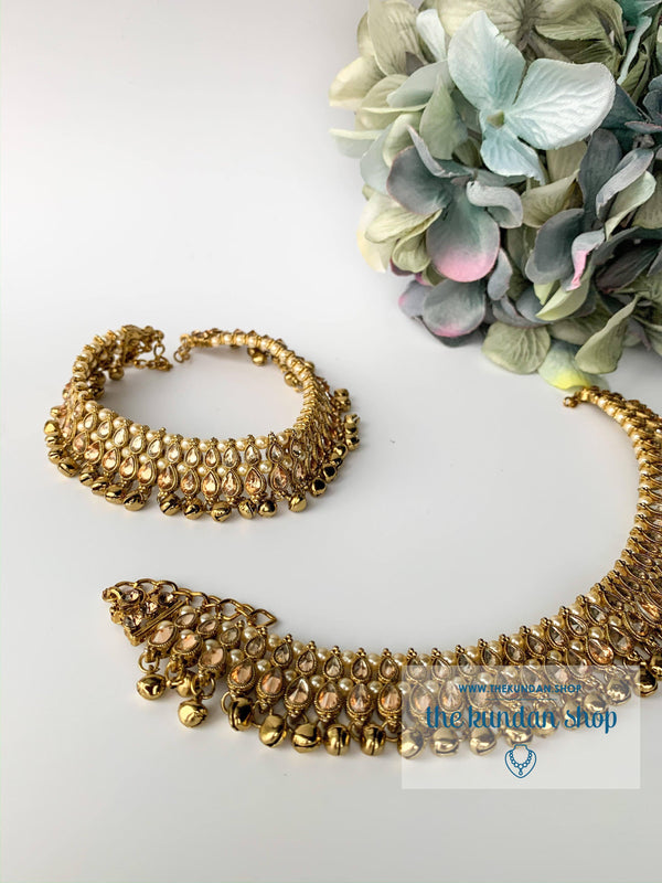 Pearl & Polki Dancer, Anklets - THE KUNDAN SHOP