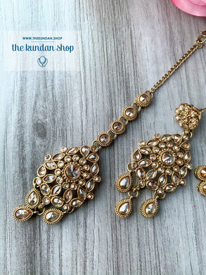 Polki Showers - Champagne, Necklace Sets - THE KUNDAN SHOP