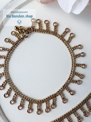 Polki Drop Anklets, Anklets - THE KUNDAN SHOP