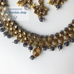 Polki Army - Grey, Necklace Sets - THE KUNDAN SHOP