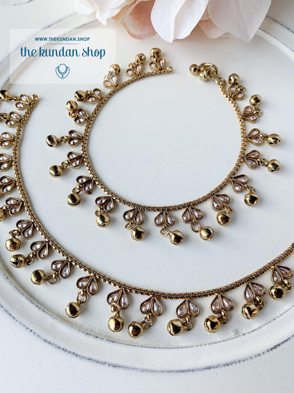 Polki Hearts Anklets, Anklets - THE KUNDAN SHOP