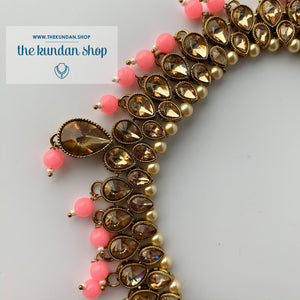 Polki Army - Pink & Pearl, Necklace Sets - THE KUNDAN SHOP