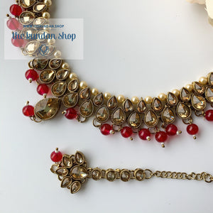 Polki Army - Red & Pearl, Necklace Sets - THE KUNDAN SHOP