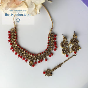 Polki Army - Red, Necklace Sets - THE KUNDAN SHOP