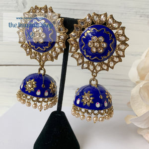 Meenakari Flowers & Polki, Earrings - THE KUNDAN SHOP