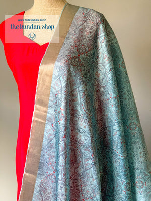 Illustrate in Blue, Dupatta - THE KUNDAN SHOP