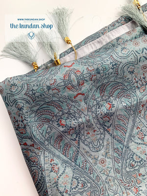 Illustrate in Grey, Dupatta - THE KUNDAN SHOP