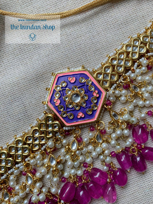 Ethereal in Purple & Pink Necklace Sets THE KUNDAN SHOP