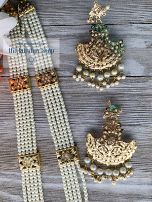 Gold & Pearls Jadau Set, Necklace Sets - THE KUNDAN SHOP