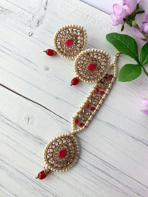 Spring of Love Tikka Set, Earrings + Tikka - THE KUNDAN SHOP