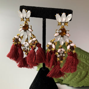 Statement Tassel - Maroon, Earrings - THE KUNDAN SHOP