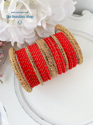 Rhinestone & Dotted Bangles in Red Bangles THE KUNDAN SHOP