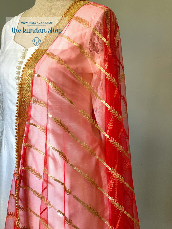 Red Sequins, Dupatta - THE KUNDAN SHOP