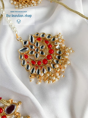 Storytelling in Red Necklace Sets THE KUNDAN SHOP