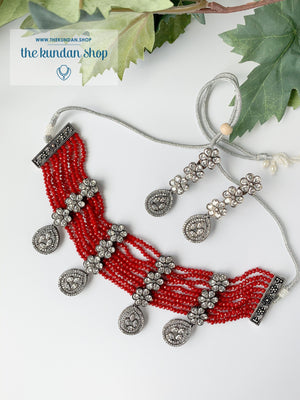 Posh in Red Necklace Sets THE KUNDAN SHOP