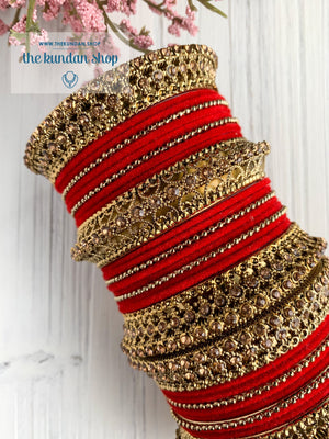 Red Velvet & Bronze Bangle Set Bangles THE KUNDAN SHOP