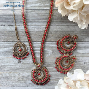 Red Pendant, Necklace Sets - THE KUNDAN SHOP