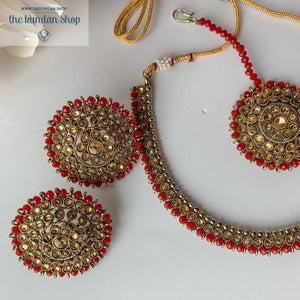 Line &  Studs - Ruby, Necklace Sets - THE KUNDAN SHOP