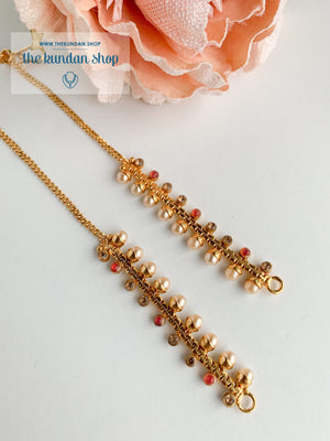 Single Gold Rhinestone Sahara Sahara Earrings THE KUNDAN SHOP Pink + Champagne